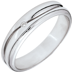 Bague Amour - Alliance homme or blanc - diamant 0.022 carat - 9 carats
