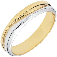 Bague Amour - Alliance homme or blanc et or jaune 18 carats