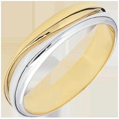 Bague Amour - Alliance homme or blanc et or jaune - 9 carats