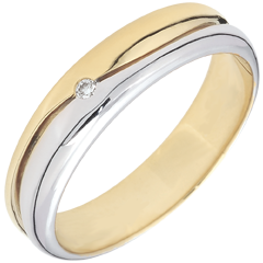 Bague Amour - Alliance homme or blanc et or jaune - diamant 0.022 carat - 18 carats