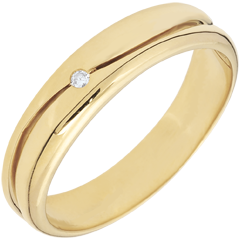 Bague Amour - Alliance homme or jaune 9 carats - diamant 0.022 carat