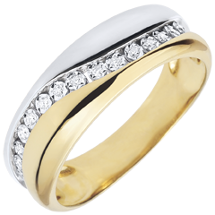 Bague Amour - Multi-diamants - or blanc et or jaune - 9 carats