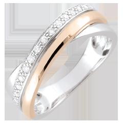 Bague anneaux et diamants - or blanc et or rose 18 carats