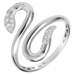 Bague Balade Imaginaire - Serpent d'amour - or blanc et diamants - 9 carats