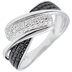 Bague Clair Obscur - Mouvement - diamants blancs - or blanc 9 carats