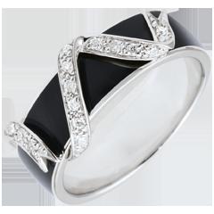 Bague Clair Obscur or blanc 9 carats - Ruban d'étoiles - laque noire et diamants
