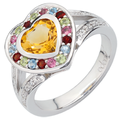 Bague Coeur en Merveille - Argent, diamants et pierres fines