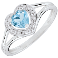 Bague Coeur Enchantement - topaze bleue - or blanc 9 carats