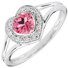 Bague Coeur Enchantement - tourmaline rose - or blanc 9 carats