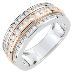 Bague Constellation - Voie Lactée - diamant 0.63 carat - 52 diamants - or blanc et or rose 18 carats
