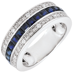 Bague Constellation - Zodiaque - saphirs bleus et diamants - or blanc 18 carats