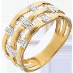 Bague couture or jaune pavée diamants - 11 diamants