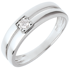 Bague double rangs avec diamant de centre - 0.05 carat - or blanc 18 carats