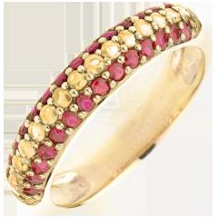 Bague Drapeau espagnol - or jaune 9 carats et pierres précieuses