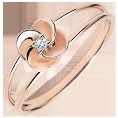Bague Eclosion - Première Rose - or rose et diamant - 9 carats