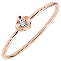 Bague Eclosion - Première Rose - Petit Modèle - or rose 18 carats et diamant