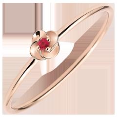 Bague Eclosion - Première Rose - Petit Modèle - or rose et rubis - 9 carats
