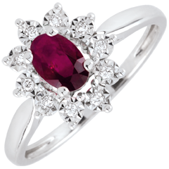 Bague Eternel Edelweiss - Marguerite Illusion - rubis et diamants - or blanc 9 carats