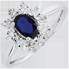 Bague Eternel Edelweiss - Marguerite Illusion - saphir et diamants - or blanc 9 carats