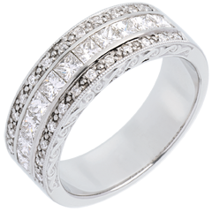 Bague Féérie - Direction Vénus - or blanc 18 carats semi pavée - 0.87 carat - 35 diamants