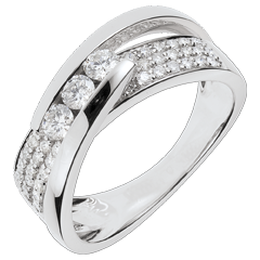 Bague Féérie - Trilogie Funambule or blanc pavé - 0.62 carats - 45 diamants