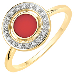 Bague Félicité - Cornaline et diamants - Or jaune 9 carats