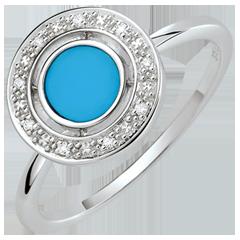 Bague Félicité - Turquoise et diamants - Or blanc 9 carats