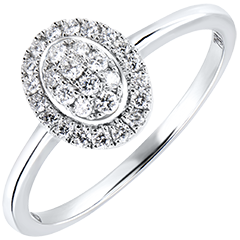 Bague de Fiançailles Abondance - Cluster - or blanc 18 carats et diamants