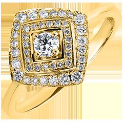 Bague de Fiançailles Abondance - Double Halo Géométrique - or jaune 18 carats et diamants