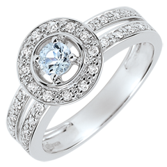 Bague de Fiançailles Destinée - Lady - aigue-marine 0.18 carat et diamants - or blanc 18 carats