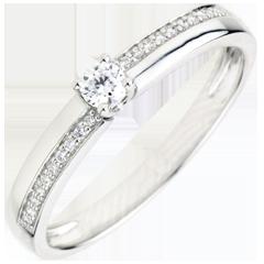 Bague de Fiançailles Destinée - Merveille - diamant 0.1 carat - or blanc 9 carats
