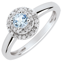 Bague de Fiançailles Double halo - aigue-marine 0.23 carat et diamants - or blanc 18 carats