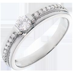 Bague de Fiançailles Solitaire Destinée - Eugénie - diamant 0.22 carat - or blanc 18 carats
