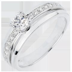 Bague de Fiançailles Solitaire Destinée - Ma Reine - grand modèle - or blanc 18 carats - diamant 0.33 carat