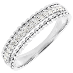 Bague Fleur de Sel - deux anneaux - or blanc 9 carats