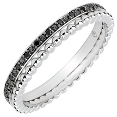 Bague Fleur de Sel - double rang - diamants noirs - or blanc 18 carats