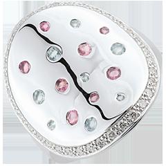 Bague Forme Mystérieuse - Argent, diamants et pierres fines