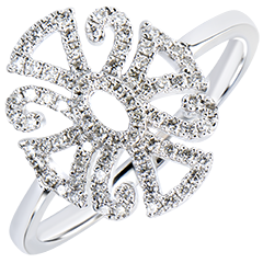 Bague Fraicheur - Arabesque variation - or blanc 9 carats et diamants