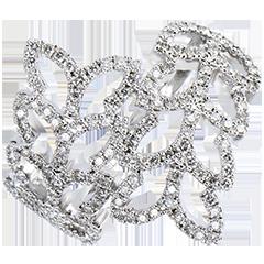 Bague Fraicheur - Feuilles de Saule - or blanc 9 carats et diamants
