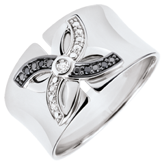 Bague Fraicheur - Lys d'Été - or blanc et diamants noirs - 9 carats