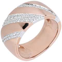 Bague Intense et diamants - or blanc et or rose 18 carats
