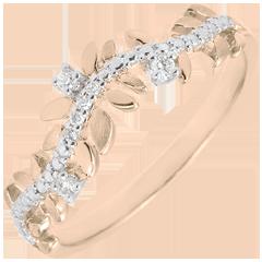 Bague Jardin Enchanté - Feuillage Royal - diamant et or rose 9 carats