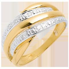 Bague Naja pavée - 4 diamants - or blanc et or jaune 18 carats
