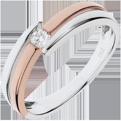 Bague Nid Précieux - Salomé - diamant 0.10 carat - or blanc et or rose 18 carats