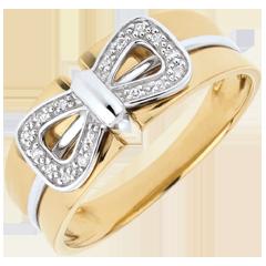 Bague Noeud Corset - or blanc et or jaune 18 carats