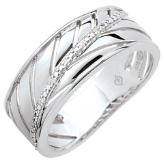 Bague Palme - or blanc 9 carats et diamants