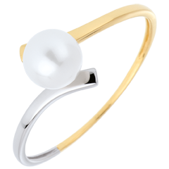 Bague perle Olympia deux ors - or blanc et or jaune 18 carats