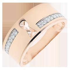 Bague Précieux Secret - or rose 9 carats et diamants