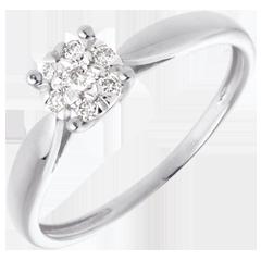 Bague roseau or blanc 18 carats sphère pavée - 7 diamants - 0.12 carat
