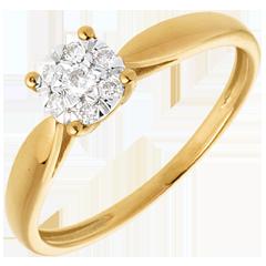 Bague roseau or jaune sphère pavée - 7 diamants